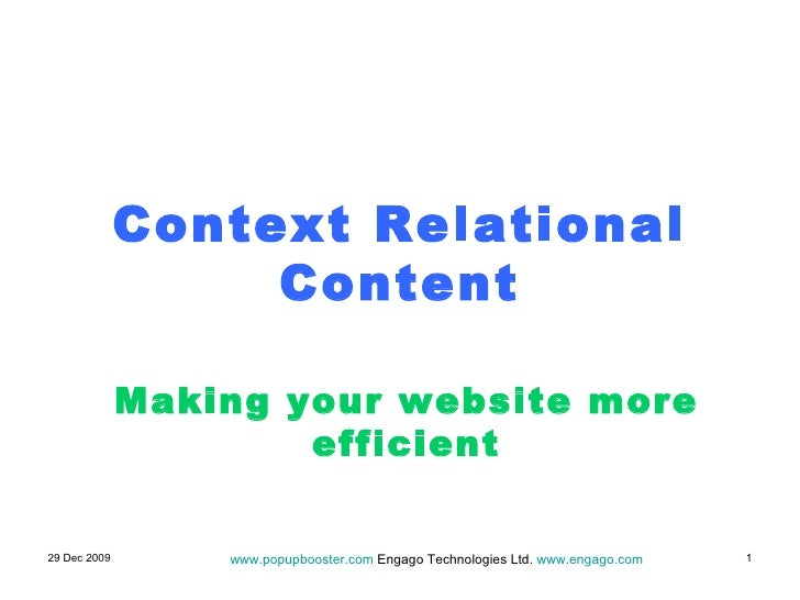 Context Relational Content Making your website more efficient