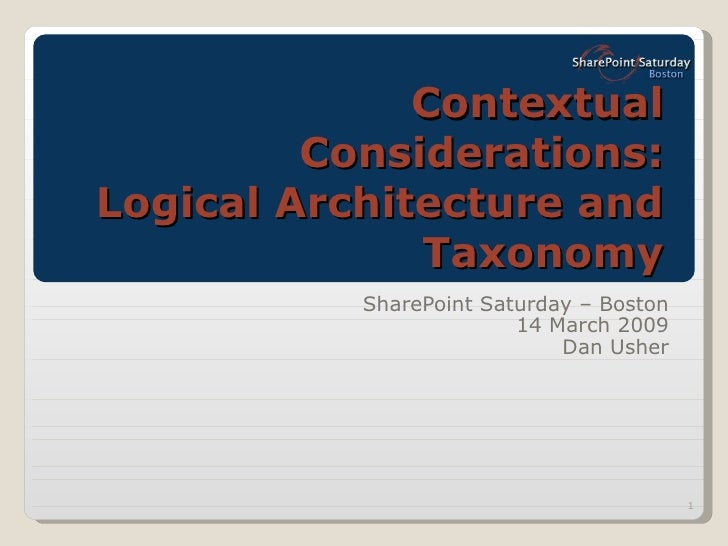 Contextual Considerations: Logical Architecture and Taxonomy SharePoint Saturday – Boston 14 March 2009 Dan Usher