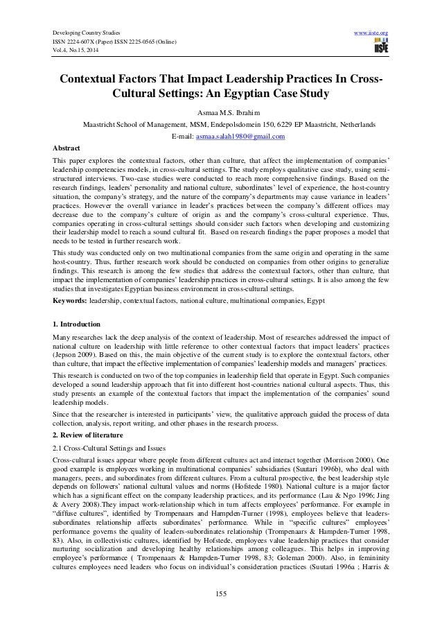 Developing Country Studies www.iiste.org ISSN 2224-607X (Paper) ISSN 2225-0565 (Online) Vol.4, No.15, 2014 155 Contextual ...