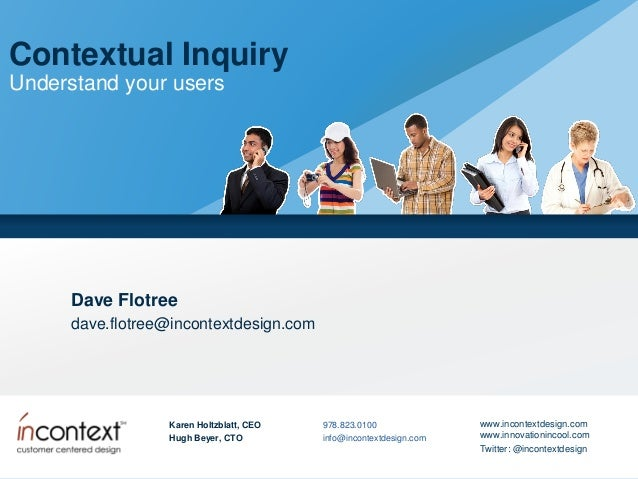 Contextual Inquiry Understand your users  Dave Flotree dave.flotree@incontextdesign.com  Karen Holtzblatt, CEO  978.823.01...