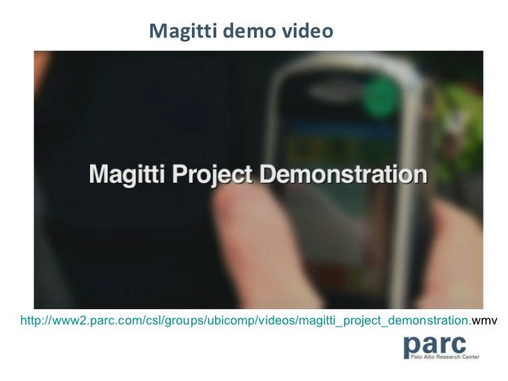 Magitti demo video http://www2. parc . com/csl/groups/ubicomp/videos/magitti_project_demonstration . wmv
