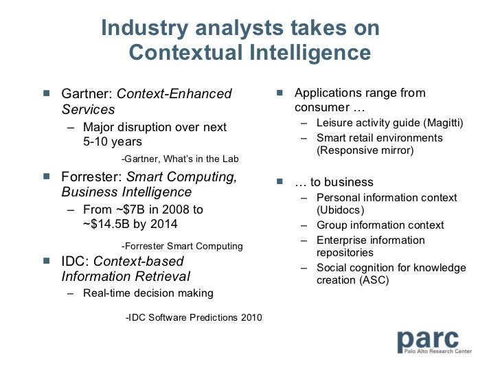 Industry analysts takes on  Contextual Intelligence <ul><li>Gartner:  Context-Enhanced Services </li></ul><ul><ul><li>Majo...