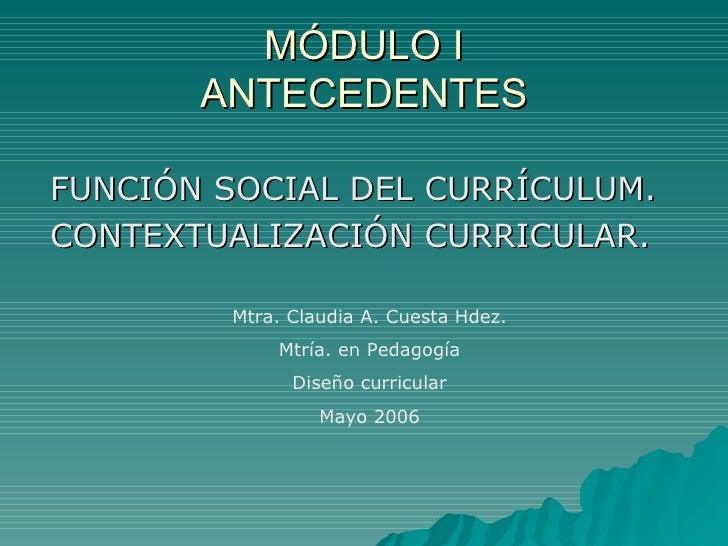 MÓDULO I ANTECEDENTES <ul><li>FUNCIÓN SOCIAL DEL CURRÍCULUM. </li></ul><ul><li>CONTEXTUALIZACIÓN CURRICULAR. </li></ul>Mtr...