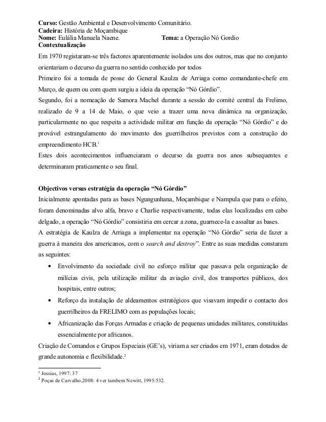 Curso: Gestão Ambiental e Desenvolvimento Comunitário. Cadeira: História de Moçambique Nome: Eulália Manuela Naene. Tema: ...