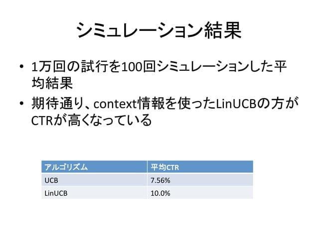 シミュレーション結果 • 1万回の試行を100回シミュレーションした平 均結果   • 期待通り、context情報を使ったLinUCBの方が CTRが高くなっている   アルゴリズム  平均CTR  UCB  7.56%...