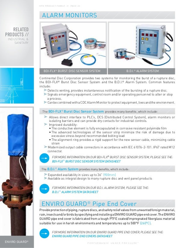 P E R F O R M A N C E U N D E R P R E S S U R E ® B.D.I.® ALARM SYSTEM RELATED PRODUCTS // INDUSTRIAL & SANITARY ENVIRO GU...