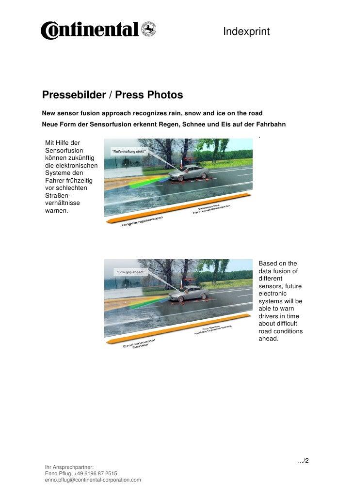 IndexprintPressebilder / Press PhotosNew sensor fusion approach recognizes rain, snow and ice on the roadNeue Form der Sen...