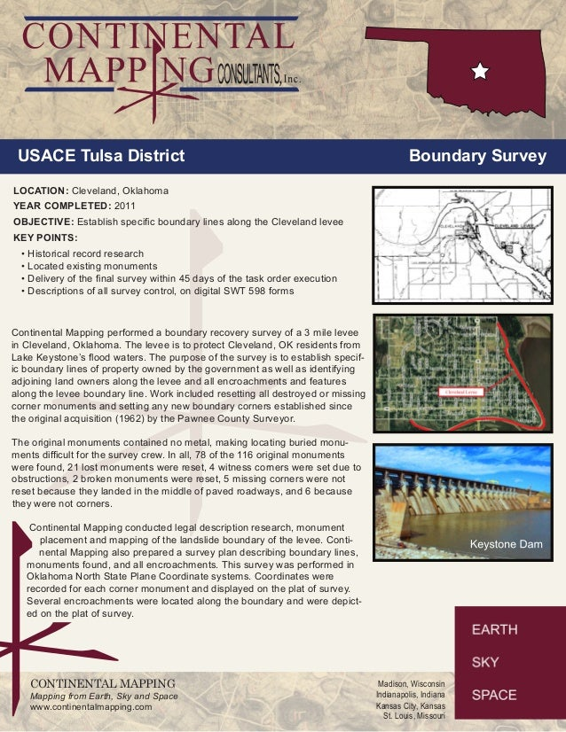USACE Tulsa District Boundary Survey  LOCATION: Cleveland, Oklahoma  YEAR COMPLETED: 2011  OBJECTIVE: Establish specific b...