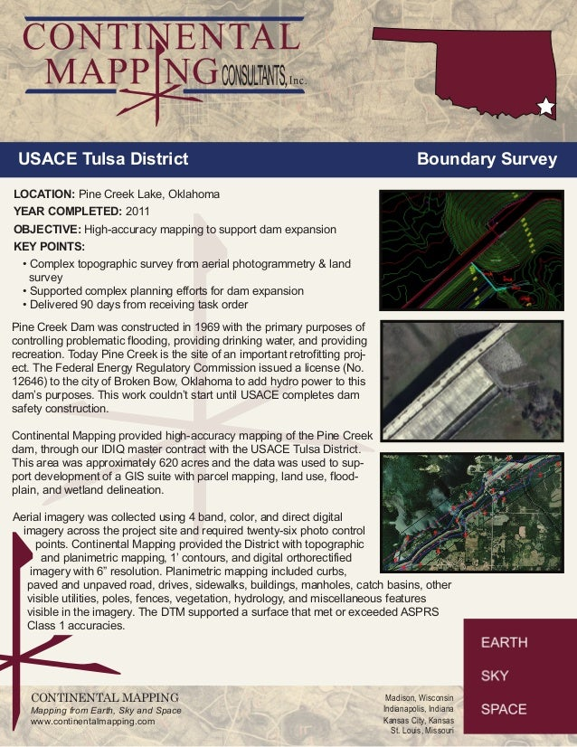 USACE Tulsa District Boundary Survey  LOCATION: Pine Creek Lake, Oklahoma  YEAR COMPLETED: 2011  OBJECTIVE: High-accuracy ...