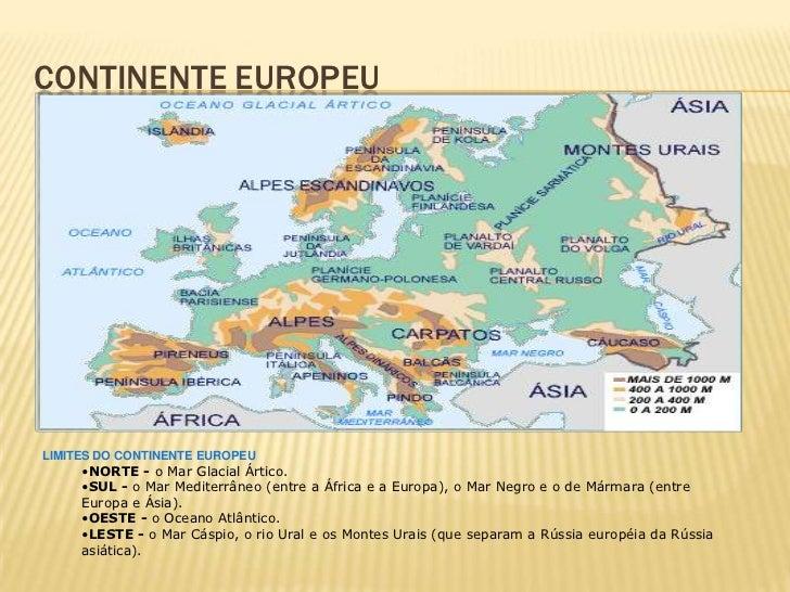CONTINENTE EUROPEULIMITES DO CONTINENTE EUROPEU     •NORTE - o Mar Glacial Ártico.     •SUL - o Mar Mediterrâneo (entre a ...