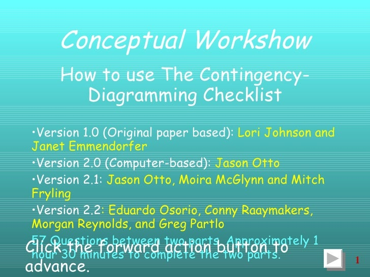 Conceptual Workshow <ul><li>How to use The Contingency-Diagramming Checklist </li></ul><ul><li>Version 1.0 (Original paper...