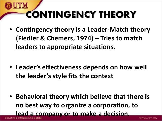"contingency theory of leadership Video created by iese business school for the course organizational behavior: how to manage people type the word ""leadership"" into amazon's search engine and you'll find 150000 related books this is indeed a popular topic but what is."