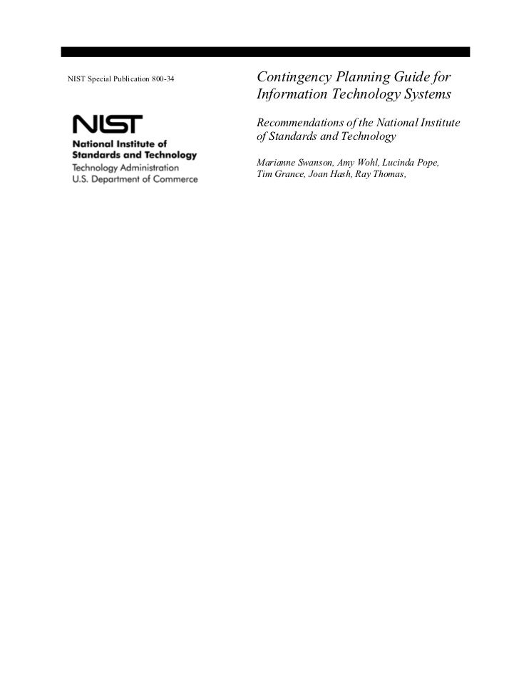 NIST Special Publication 800-34   Contingency Planning Guide for                                  Information Technology S...