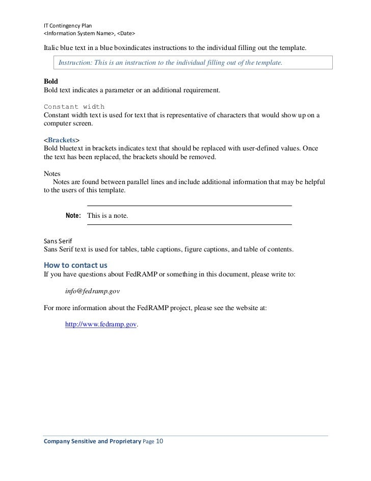 Information Technology Contingency Plan Template – Write Contingency Plan Template