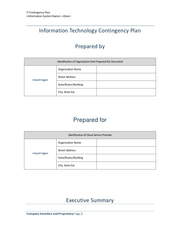 Information technology contingency plan template 2 it contingency planinformation accmission Image collections
