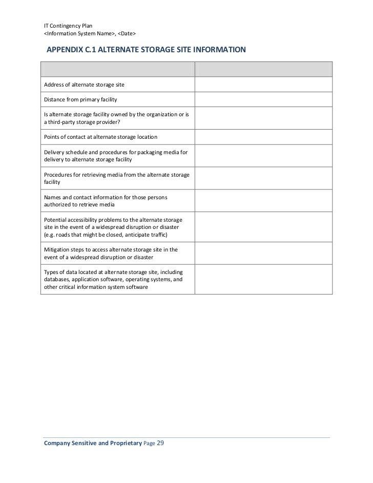 Information Technology Contingency Plan Template – Point of Contact Template