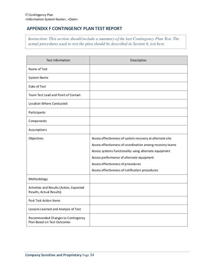 Information Technology Contingency Plan Template