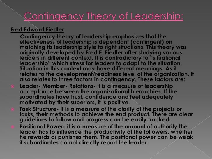 contingency theory of leadership pdf