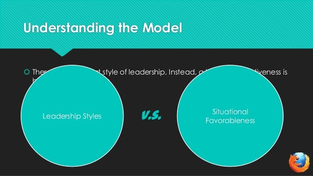 Understanding the Model There is no one best style of leadership. Instead, a leader's effectiveness isbased on the situat...