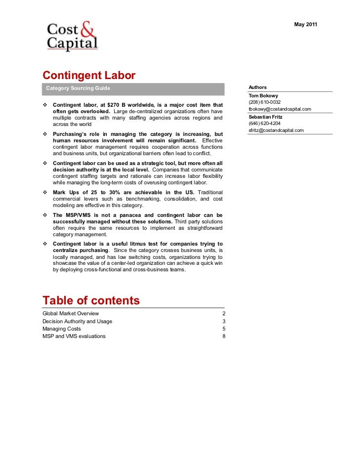 May 2011Contingent Labor Category Sourcing Guide                                                       Authors            ...