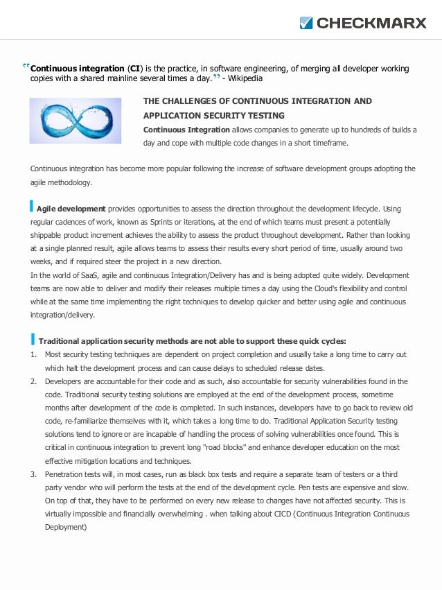 Continuous integration (CI) is the practice, in software engineering, of merging all developer working copies with a share...