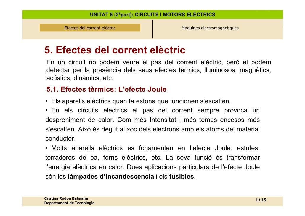 UNITAT 5 (2ªpart): CIRCUITS I MOTORS ELÈCTRICS            Efectes del corrent elèctric               Efectes del corrent e...