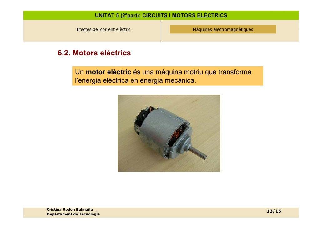 UNITAT 5 (2ªpart): CIRCUITS I MOTORS ELÈCTRICS                Efectes del corrent elèctric              Màquines electroma...