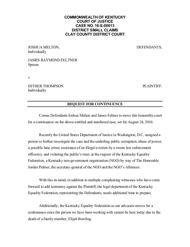 COMMONWEALTH OF KENTUCKY COURT OF JUSTICE CASE NO. 16-S-00013 DISTRICT SMALL CLAIMS CLAY COUNTY DISTRICT COURT JOSHUA MELT...