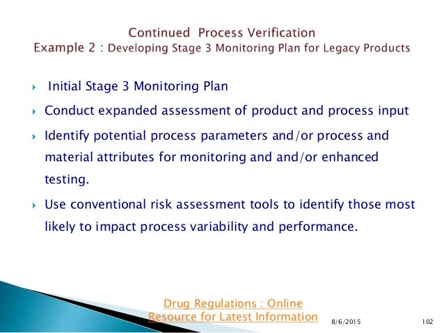  Initial Stage 3 Monitoring Plan  Conduct expanded assessment of product and process input  Identify potential process ...