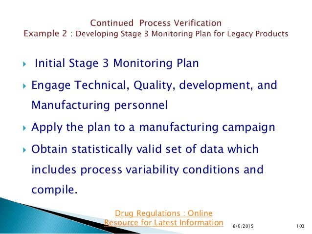  Initial Stage 3 Monitoring Plan  Engage Technical, Quality, development, and Manufacturing personnel  Apply the plan t...
