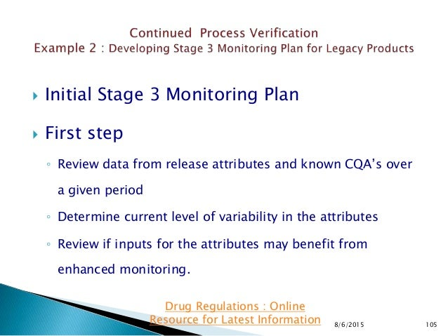  Initial Stage 3 Monitoring Plan  First step ◦ Review data from release attributes and known CQA's over a given period ◦...