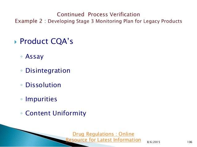  Product CQA's ◦ Assay ◦ Disintegration ◦ Dissolution ◦ Impurities ◦ Content Uniformity 8/6/2015 106 Drug Regulations : O...