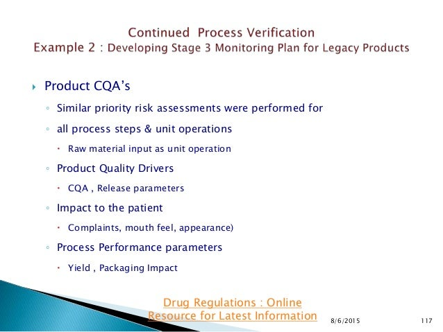 Product CQA's ◦ Similar priority risk assessments were performed for ◦ all process steps & unit operations  Raw materia...