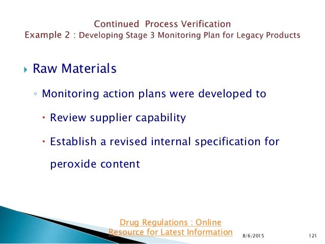  Raw Materials ◦ Monitoring action plans were developed to  Review supplier capability  Establish a revised internal sp...