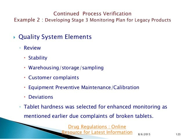  Quality System Elements ◦ Review  Stability  Warehousing/storage/sampling  Customer complaints  Equipment Preventive...
