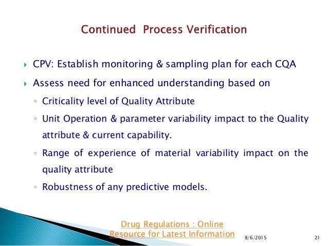  CPV: Establish monitoring & sampling plan for each CQA  Assess need for enhanced understanding based on ◦ Criticality l...