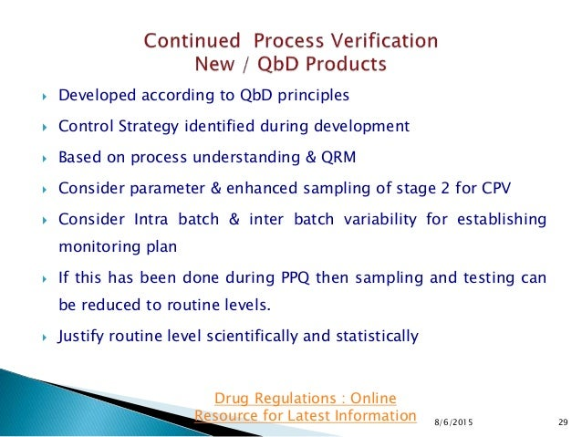  Developed according to QbD principles  Control Strategy identified during development  Based on process understanding ...