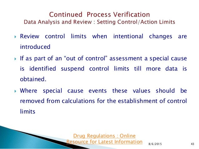 """ Review control limits when intentional changes are introduced  If as part of an """"out of control"""" assessment a special c..."""