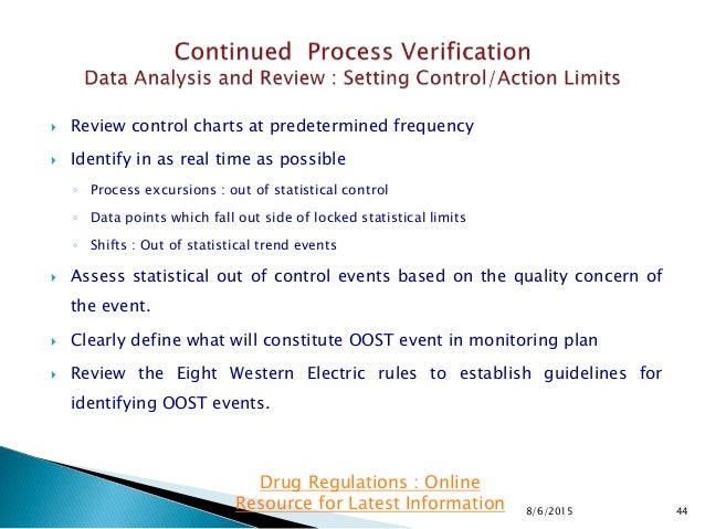  Review control charts at predetermined frequency  Identify in as real time as possible ◦ Process excursions : out of st...