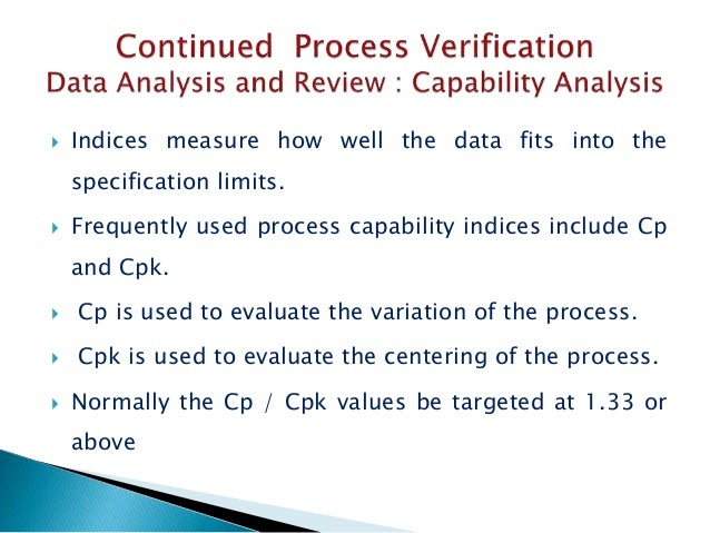  Indices measure how well the data fits into the specification limits.  Frequently used process capability indices inclu...