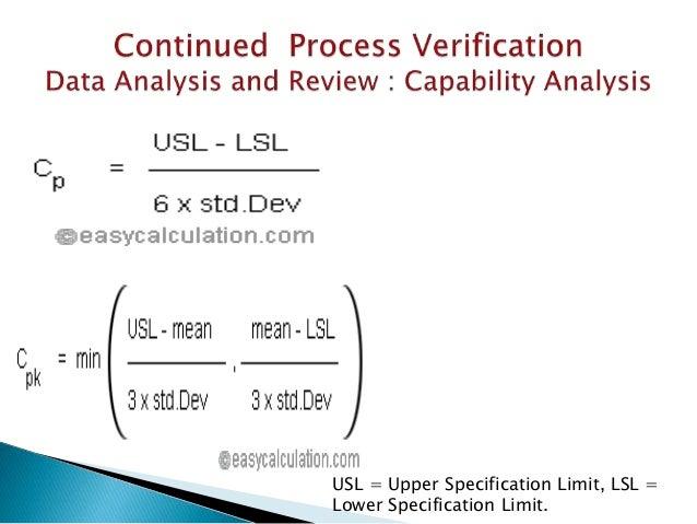 USL = Upper Specification Limit, LSL = Lower Specification Limit.