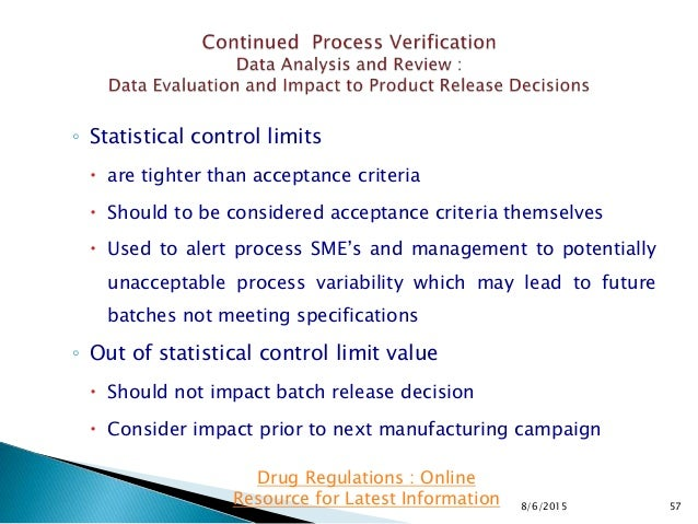 ◦ Statistical control limits  are tighter than acceptance criteria  Should to be considered acceptance criteria themselv...