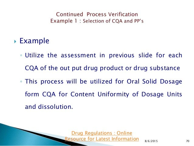  Example ◦ Utilize the assessment in previous slide for each CQA of the out put drug product or drug substance ◦ This pro...