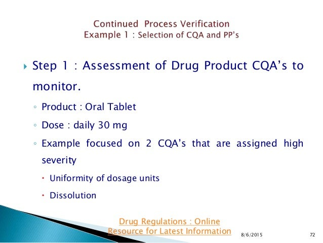  Step 1 : Assessment of Drug Product CQA's to monitor. ◦ Product : Oral Tablet ◦ Dose : daily 30 mg ◦ Example focused on ...