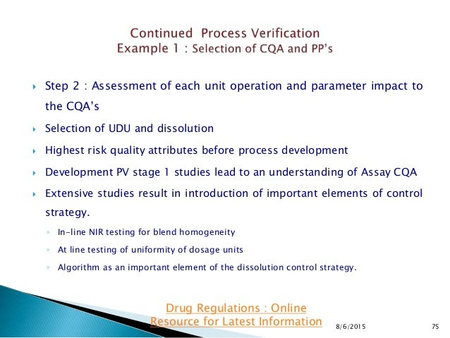  Step 2 : Assessment of each unit operation and parameter impact to the CQA's  Selection of UDU and dissolution  Highes...