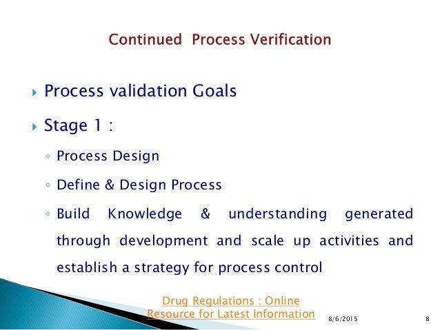  Process validation Goals  Stage 1 : ◦ Process Design ◦ Define & Design Process ◦ Build Knowledge & understanding genera...