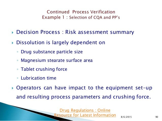  Decision Process : Risk assessment summary  Dissolution is largely dependent on ◦ Drug substance particle size ◦ Magnes...