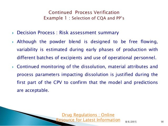  Decision Process : Risk assessment summary  Although the powder blend is designed to be free flowing, variability is es...