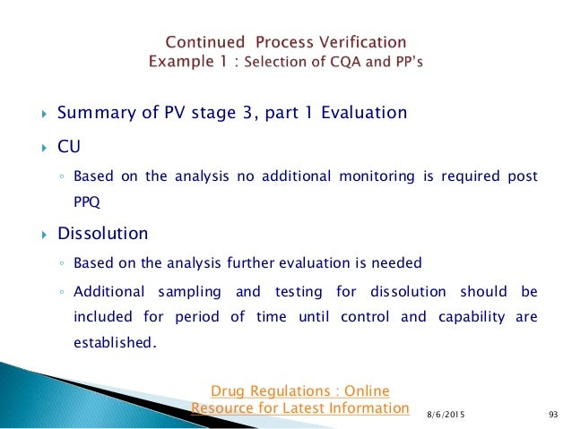 Summary of PV stage 3, part 1 Evaluation  CU ◦ Based on the analysis no additional monitoring is required post PPQ  Di...