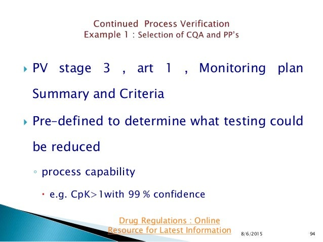  PV stage 3 , art 1 , Monitoring plan Summary and Criteria  Pre–defined to determine what testing could be reduced ◦ pro...